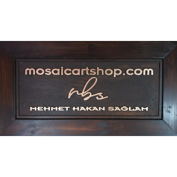 MOSAIC ART SHOP ANTIQUE SIGNBOARD - CARVED AND PLATED WITH COPPER LEAF