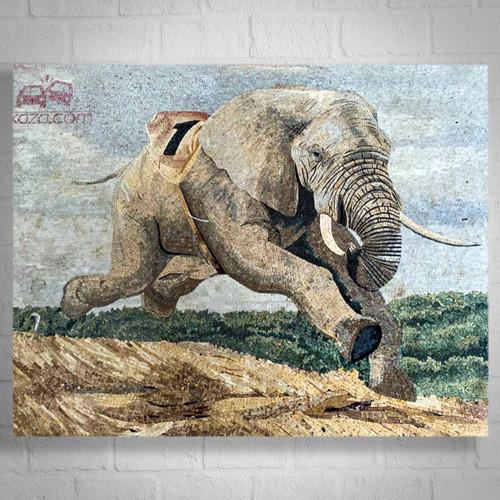 HUGE ELEPHANT - WALL PANEL MARBLE MOSAIC FOR ALO KAZA COMPANY