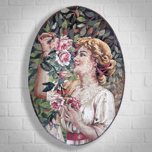 WOMEN IN FLOWER MARBLE MOSAIC