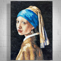 Girl With A Pearl Earring (Johannes Vermeer) Marble Mosaic